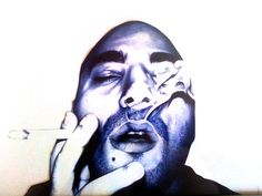 Blue Bic pen on paper  by Anthony Caseiro.