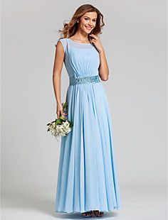 A-line Scoop Natural Ankle-length Chiffon Bridesmaid Dress(7... – USD $ 89.69