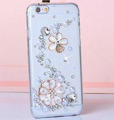 iPhone 6 Plus, 6 - Glitzy Gem Royal Crown & 3D Flower Bling on Clear Case - Thumbnail 1