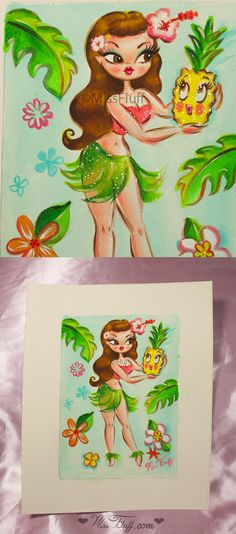 A cute, vintage inspired hula girl with a sparkly outfit and large flower in her hair. In her hands she holds an enchanted pineapple! Original Art by Claudette Barjoud, a.k.a Miss Fluff. www.missfluff.com #hulagirls