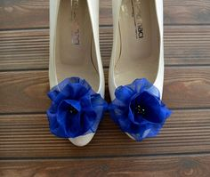 Royal Blue Flowers Shoe Clips by BizimFlowers on Etsy