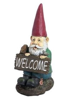 Garden Gnomes Welcome Gnomes Stump Home or Garden Colorful Decor.