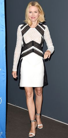 Naomi Watts stuck with a color palette of black and white for the Demolition press conference at the 2015 Toronto International Film Festival. She wore a contrast lace number with Anita Ko jewelry and white sandals with black piping.
