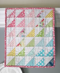 rainbow and sunshine doll quilt - I love how simple and fresh this looks.