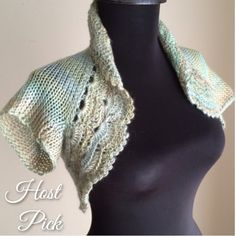 -HP!- Shrug Seafoam Crop Cap Sleeve Bolero Crochet -Host a Pick!- Cap sleeve knit shrug with intricate painstakingly crocheted trim forming a lacy band and rolling collar. This time in a soft ombré of neutral sea foam green and sand colors. Really great for taking the chill off at the office, event, or night out without adding bulk or covering up too much. Made of washable acrylic roving with a fuzzy warm texture. Handmade USA. No two exactly alike since I improvise the design. GemFOX…