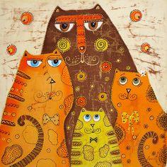 """Весёлое этно """"Кошачья семейка"""" (батик панно) - этно,кот,коты,семья,подарок"""