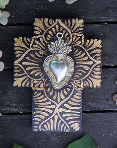 Hand-Painted-Sacred-Heart-Milagro-Miracle-Cross-Mexican-Folk-Art-Michoacan