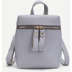 SheIn(sheinside) Double Zipper Front PU Backpack (60 DKK) ❤ liked on Polyvore featuring bags, backpacks, grey, daypack bag, day pack rucksack, grey backpack, double zipper bag and double zip backpack