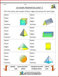 3d shapes worksheets properties 5 - faces edges and vertices