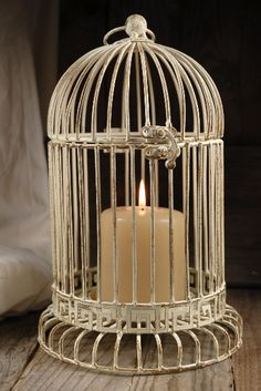"""12"""" Antique White Metal Bird Cage for centre pieces?  Have them sitting in moss maybe.  Probably able to paint them."""