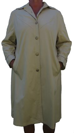 A classic loose A-Line style all weather coat in jersey cream, two pockets, a full lining, cuff ties, a long back pleat with excellent finishes and in stunning condition Coats For Women, Ties, Raincoat, Weather, Pockets, Cream, Elegant, Lady, Classic