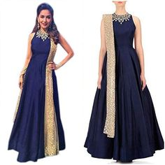 The Dazzling Replica Madhuri Dixit Dark Blue Banglori Silk Designer Anarkali Suit have amazing embroidery patch work is done with resham, zari, sequins, stone and latken work at Just in Rs 2495/- For Order whatsapp us at +91-9311187463 or you can also Visit our website : http://www.suit-sarees.com