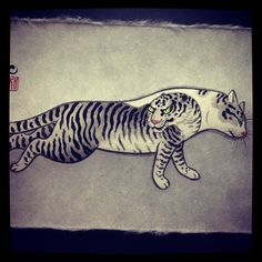 Painting of tattooed cat @horitomo_stateofgrace