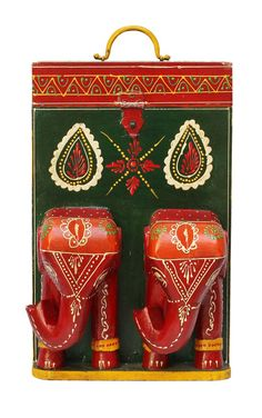 """Bulk Wholesale Handmade 14"""" Dark-Green Double Wine Bottle Holder / Box with 2 Elephant Faces in Red & Orange and More Colorful Bright Motifs in Cone-Panting Art – Ethnic-Look Bottle Holders from India"""