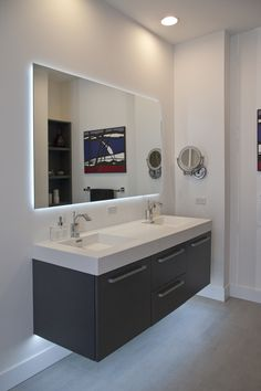 Clssic Floating Sink Cabinet With White Top Design Feat Twin Stainless Steel Faucet And Large Frameless Mirror 17874, Incredible Floating Sink Cabinets Improve An Awesome Look Of The Bathroom, There are 20 Design and Decorating Ideas for Your Bathroom that Should Inspire You | fanelis.com