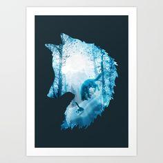 Fox's Winterland, by Diogo Veríssimo #dverissimo illustration #silhouette #digital #drawing   #scenic #fantasy #nature #scenic #light #magic #woods #trees #animal #winter #animalia #snow #cold #fox #foxy   #wild #winterland #christmas december