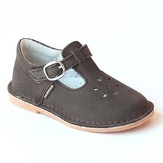 L'Amour Girls Classic Nubuck Brown Leather Mary Janes