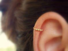 Beaded cartilage earring - Helix hoop - Cartilage piercing - Helix jewelry - Minimal Helix jewelry - Tiny Hoop - piercing hoop by sofisjewelryshop on Etsy https://www.etsy.com/listing/248809424/beaded-cartilage-earring-helix-hoop