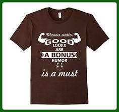 Mens Manner Matter.Good Looks Are A Bonus-Funny Gym Quotes Shirt. Small Brown - Workout shirts (*Amazon Partner-Link)