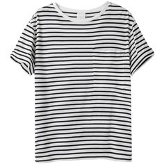 AR SRPLS Striped Pocket Tee ($130) ❤ liked on Polyvore featuring tops, t-shirts, shirts, tees, nautical striped tee, relax t shirt, boxy shirt, short sleeve tee and over sized t shirts