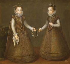 Alonso Sánchez Coello (1532–1588)  Las infantas Isabel Clara Eugenia y Catalina Micaela Description Español: Retrato de las infantas Isabel Clara Eugenia (1566-1633), que fue hija del rey Felipe II de España y esposa del archiduque Alberto de Austria, y Catalina Micaela de Austria (1567-1597), que también fue hija del rey Felipe II y esposa del duque Carlos Manuel I de Saboya. DateCa. 1575 Mediumoil on canvas .jpg (2591×2362)