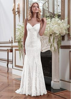 Elegant Lace Spaghetti Straps Neckline Sheath Wedding Dresses
