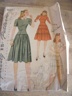 "Patron Vintage ""Simplicity ""Robe Plissee Volants Annee 50 T40 N°4127 | eBay"
