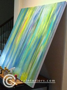 how to make a canvas painting - easy. Would be good for teaching color schemes.