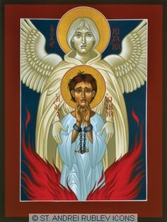 St. Joan of Arc with St. Michel the Archangel.  St. Andrei Rublev Icons