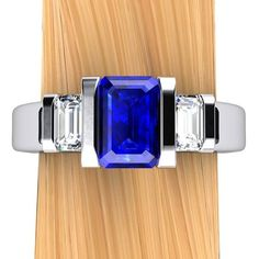 http://rubies.work/0844-ruby-pendant/ Sapphire Engagement Ring, Emerald Cut Blue Sapphire and Diamonds in Palladium or 14k Gold –