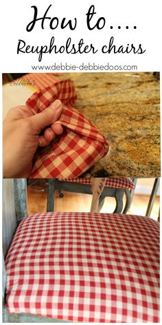 How to reupholster your chairs for about $20.00. So easy, I never knew I could do it! #debbiedoos.