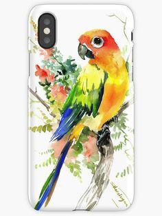 Sun Conure Parakeet, tropical colors parrot art design Mini Art Print by SurenArt - Without Stand - x Watercolor Bird, Watercolor Artwork, Parrot Drawing, Owl Artwork, Conure, Bird Drawings, Parakeet, Pics Art, Art Design