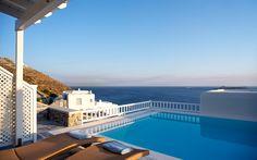 21 Perfect Romantic Island Getaways in Greece Mykonos Villas, Marina Resort, Villa With Private Pool, Unique Hotels, Resort Villa, Cool Pools, Greek Islands, Hotels And Resorts, Greece