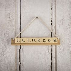 Bedroom / Bathroom / Toilet / Study / Pantry Vintage SCRABBLE Letter Tile Sign  Beautiful hand made signs made from authentic vintage letter SCRABBLE tiles and wooden racks.    Choose from four styles 'bedroom', 'bathroom', 'toilet', 'study' or 'Pantry'.  Perfect gift for the new home!.
