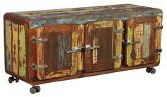 Sideboard Kommode Massiv braun / bunt Woody 175-00004