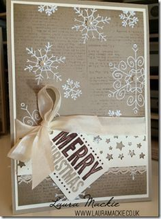 Stampin' Up! Christmas card using Endless wishes stamp set, Heat embossing