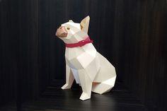 DIY French Bulldog - 3d papercraft from DesignBundles.net Low Poly, Glue Crafts, Paper Crafts, Diy Paper, French Bulldog Gifts, Paper Animals, Paper Models, Design Bundles, 3 D