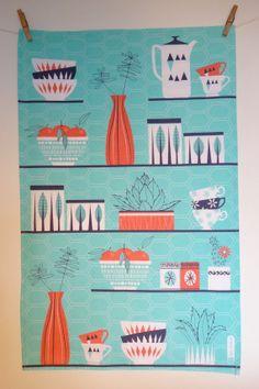 Retro Cactus Tea Towel by JaneFarnham on Etsy, £9.00