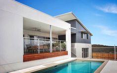 Scyon matrix wall, matrix cladding, australian way to build Hamptons Style Homes, Hamptons House, Exterior Color Schemes, Exterior Design, Colour Schemes, Case Study Design, External Cladding, Australian Architecture, Wall Cladding