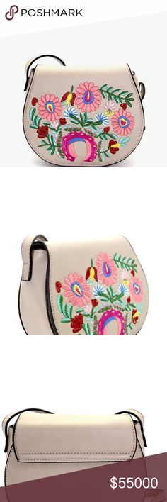 """Grey Flower Embroidered Flap Crossbody Bag Grey Flower Embroidered Flap Crossbody Bag. Vegan Leather. Zip Top Closure. Adjustable Strap. 7""""L x 6""""H x 3""""D. Price is Firm Unless Bundled GlamVault Bags Crossbody Bags"""