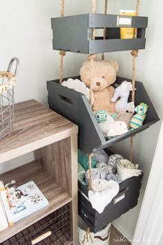 What a cool way to use vertical space! Hanging closet storage crates not for kids room Baby Bedroom, Baby Boy Rooms, Kids Bedroom, Kids Rooms, Baby Nursery Closet, Baby Boy Nurseries, Baby Nursery Ideas For Boy, Bedroom Ideas, Baby Boy Hats