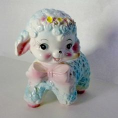 Vintage Blue and Pink Lamb Ceramic Planter Japan by thetinyteapot, $27.00