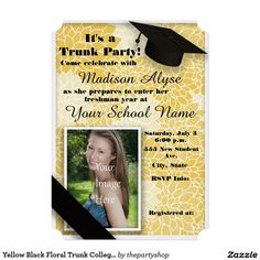 Red Black White Trunk College Party Photo Card College parties