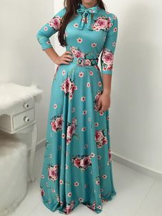Shop Floral Print Tied Neck Belted Maxi Dress right now, get great deals at Chiquedoll Modest Outfits, Dress Outfits, Casual Dresses, Modest Fashion, Fashion Outfits, Dress Fashion, Women's Fashion, Ruffle Dress, Dress Skirt