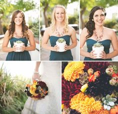 LOVE, LOVE, LOVE - Succulent plants instead of bouquet for bridesmaids :)