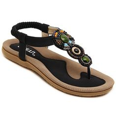 2b4803704b55 Ethnic Style Women s Sandals With Flat Heel and Elastic Design  Shoes   woman Bohemian Sandals
