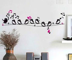 Bird Singing Wire Music Notes Removable Wall Sticker Home Decor Decal Art Girl Bedroom Walls, Kids Bedroom, Bedrooms, Monster Bedroom, Angel Decor, Kids Room Wall Art, Removable Wall Stickers, Wall Stickers Home Decor, Animal Nursery
