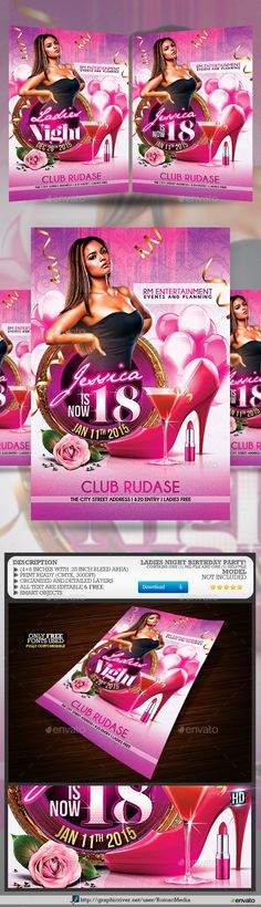 Please remember to Rate Purchased Items. Your support is greatly appreciated, Thanks. Ladies Night Birthday Party Flyer Template The canvas is set up at pixels inches with inch bleed area)Contains one PSD file that is well organized an Club Parties, Birthday Parties, Event Flyer Templates, Ladies Night, Party Flyer, Christmas Design, Best Part Of Me, Night Club, Holiday Parties