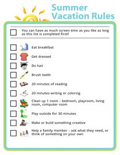 Free Printable: Summer Vacation Rules - Setting up house rules for screen time is a great way to help make sure your kids don't spend the - Kids Summer Schedule, Summer Checklist, Kids Checklist, Summer Kids, Travel Checklist, Daily Checklist, Kids And Parenting, Parenting Hacks, Parenting Plan