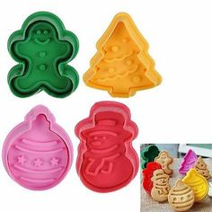 Get this 3DChristmas cookie press cutters set of 4 pieces and prepare the cutest Christmas biscuits the easiest way possible.